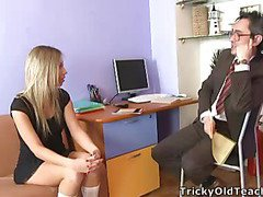 Blonde sweetheart came to the professor's office and in a during the time that his bulky cock was sliding between her soft cunt lips.