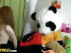 A cute teenage gal masturbating - that's something that can make anyone rock-hard! The stripped lascivious hottie fucked her dripping slit with a biggest sextoy, then fell asleep. What happened later could have been her dream, cuz it's also weird. Her much loved toy, a massive panda bear, came alive and plunged into joy fucking with the oversexed chick. This Stud made the amused gal suck his big dark dong, then hammered the hawt legal age teenager's creamy muff. Wow, sex with big toys has not at any time looked so damn hot!...