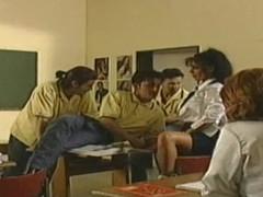 Nasty German schoolgirls fucked in the classroom